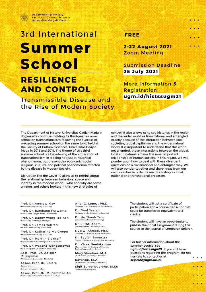 Seperti Apa International Summer School Ketiga UGM dari Departemen Sejarah 2021?